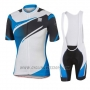 2016 Cycling Jersey Sportful White and Blue Short Sleeve and Bib Short