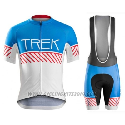 2016 Cycling Jersey Trek Bontrager White and Blue Short Sleeve and Bib Short