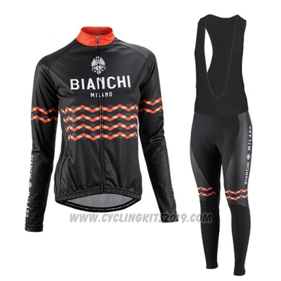 2016 Cycling Jersey Women Bianchi Black and Orange Long Sleeve and Bib Tight