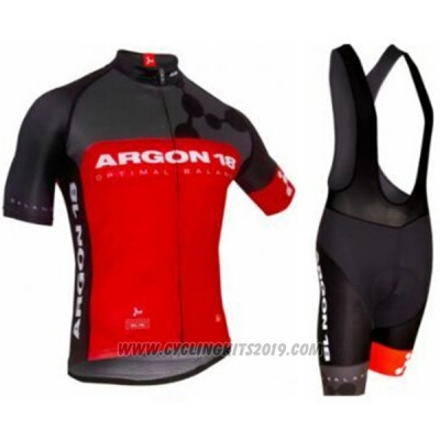 2017 Cycling Jersey Argon Red Short Sleeve and Bib Short