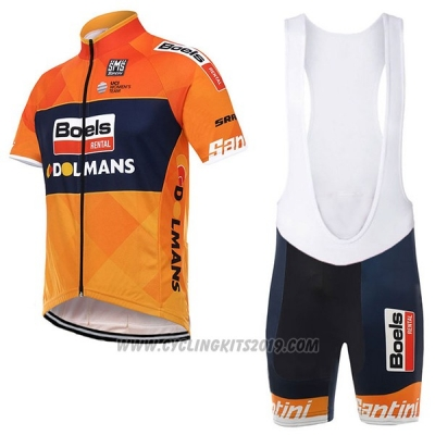 2017 Cycling Jersey Boels Dolmans Orange Short Sleeve and Bib Short