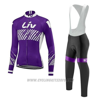 2017 Cycling Jersey Liv Purple Long Sleeve and Bib Tight