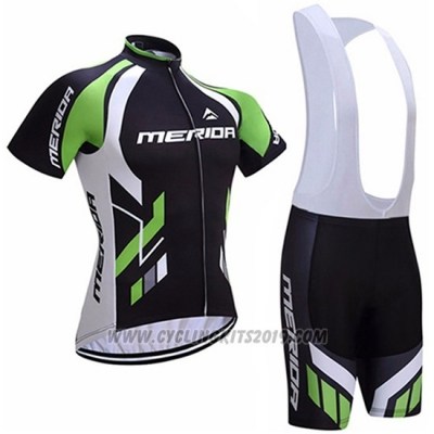2017 Cycling Jersey Merida Black and Green Short Sleeve and Bib Short