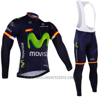 2017 Cycling Jersey Movistar Campione Spain Long Sleeve and Bib Tight