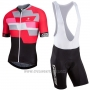 2017 Cycling Jersey Nalini Cervino Red and Black Short Sleeve and Salopette