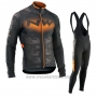 2017 Cycling Jersey Northwave Ml Black and Orange Long Sleeve and Bib Tight