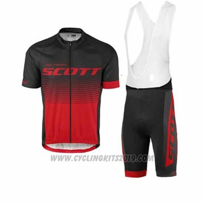 2017 Cycling Jersey Scott Black Red Short Sleeve and Salopette