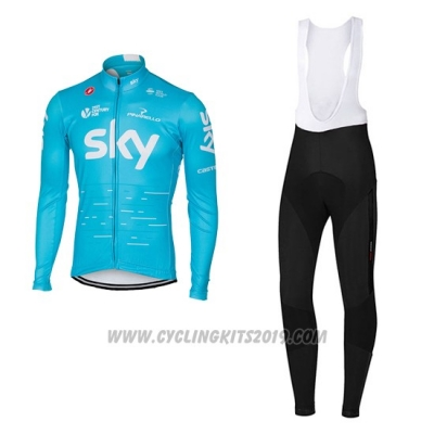 2017 Cycling Jersey Sky Sky Blue Long Sleeve and Bib Tight