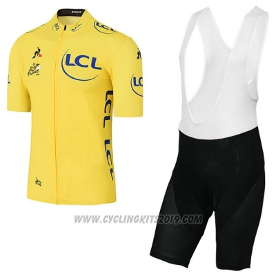 2017 Cycling Jersey Tour de France Yellow Short Sleeve and Bib Short