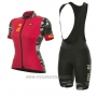 2017 Cycling Jersey Women ALE Prr Ventura Red Short Sleeve and Bib Short