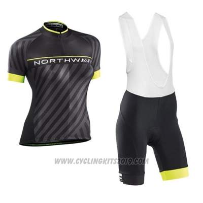 2017 Cycling Jersey Women Northwave Black and Yellow Short Sleeve and Bib Short