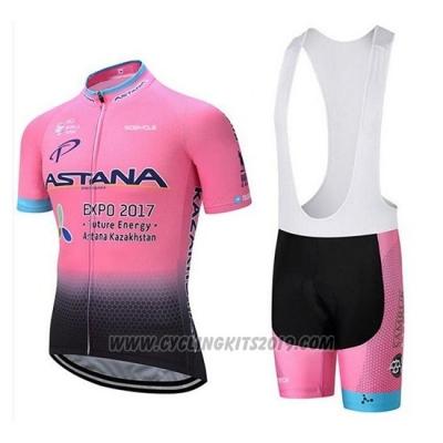 2018 Cycling Jersey Astana Light Pink Short Sleeve and Bib Short c43c26bbf