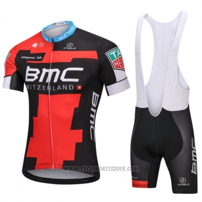 2018 Cycling Jersey BMC Red and Black Short Sleeve and Bib Short