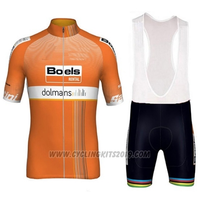 2018 Cycling Jersey Boels Dolmans Orange Short Sleeve and Bib Short