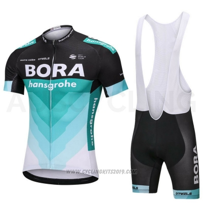 2018 Cycling Jersey Bora Green and Black Short Sleeve and Bib Short