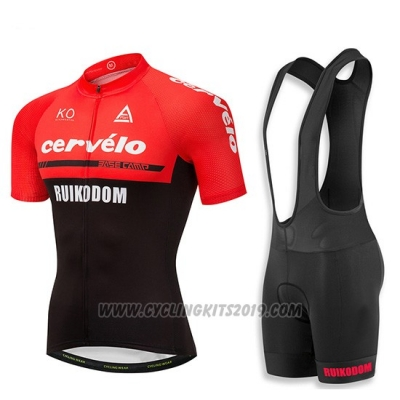 2018 Cycling Jersey Cervelo Red and Black Short Sleeve and Bib Short
