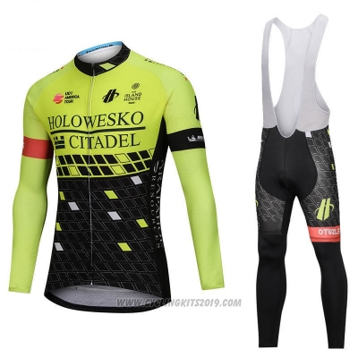 2018 Cycling Jersey Holowesko Citadel Green and Black Long Sleeve and Bib Tight