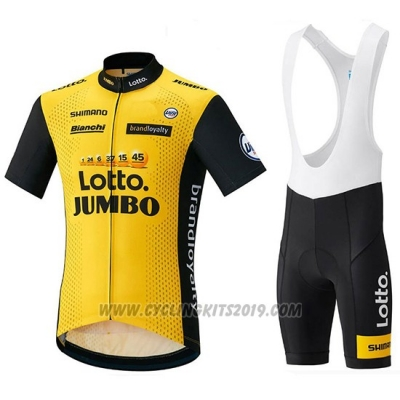 2018 Cycling Jersey Lotto NL Jumbo Yellow and Black Short Sleeve and Bib Short