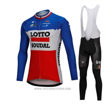 2018 Cycling Jersey Lotto Soudal Blue and Red Long Sleeve and Bib Tight