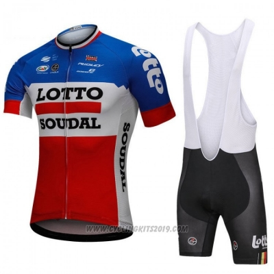 2018 Cycling Jersey Lotto Soudal Blue and Red Short Sleeve and Bib Short