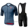 2019 Cycling Jersey Castelli Aero Race Blue Red Short Sleeve and Bib Short