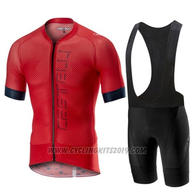 2019 Cycling Jersey Castelli Climber's 2.0 Red Short Sleeve and Bib Short