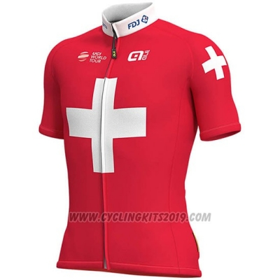 2019 Cycling Jersey Groupama FDJ Champion Switzerland Short Sleeve and Bib Short