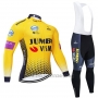 2019 Cycling Jersey Jumbo Visma Yellow Black Long Sleeve and Bib Tight