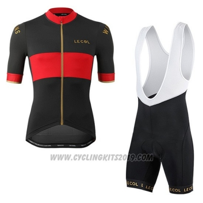 2019 Cycling Jersey Lecol Black Red Short Sleeve and Bib Short