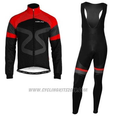 2019 Cycling Jersey Nalini Black Red Long Sleeve and Bib Tight