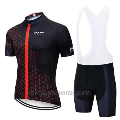 2019 Cycling Jersey Northwave Black Red Short Sleeve and Bib Short