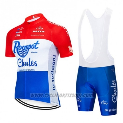 2019 Cycling Jersey Roompot Charles Red White Blueshort Sleeve and Bib Short