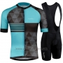 2019 Cycling Jersey Runchita Sky Blue Gray Short Sleeve and Bib Short
