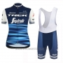 2019 Cycling Jersey Women Trek Segafredo Blue Short Sleeve and Bib Short