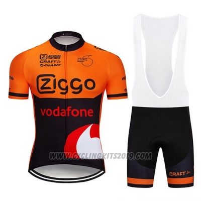 2019 Cycling Jersey Ziggo Orange Black Short Sleeve and Bib Short