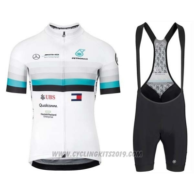 2020 Cycling Jersey Assos White Blue Black Short Sleeve and Bib Short