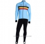 2020 Cycling Jersey Belgium Light Blue Long Sleeve and Bib Tight