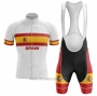 2020 Cycling Jersey Champion Spain White Short Sleeve and Bib Short