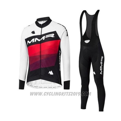 2020 Cycling Jersey MMR White Black Red Long Sleeve and Bib Tight