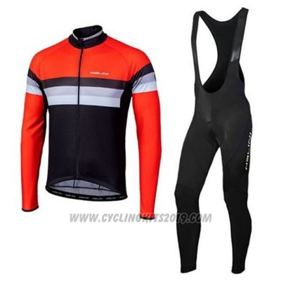2020 Cycling Jersey Nalini Black Orange Long Sleeve and Bib Tight