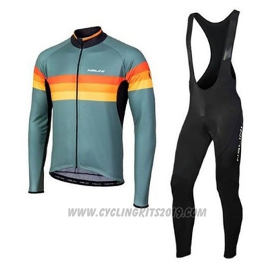 2020 Cycling Jersey Nalini Green Orange Long Sleeve and Bib Tight