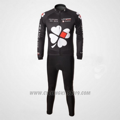 2010 Cycling Jersey FDJ Black Long Sleeve and Bib Tight