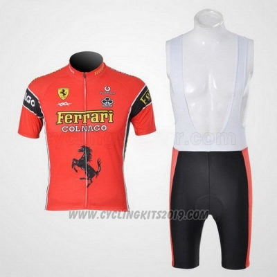 2010 Cycling Jersey Ferrari Black and Red Short Sleeve and Bib Short