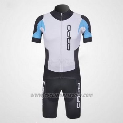 2011 Cycling Jersey Capo Black and White 5 Short Sleeve and Bib Short