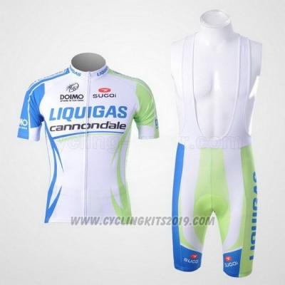 2011 Cycling Jersey Liquigas Cannondale White and Green Short Sleeve and Bib Short