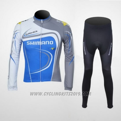 2011 Cycling Jersey Shimano Blue and Gray Long Sleeve and Bib Tight