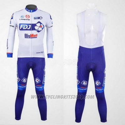 2012 Cycling Jersey FDJ White and Sky Blue Long Sleeve and Bib Tight