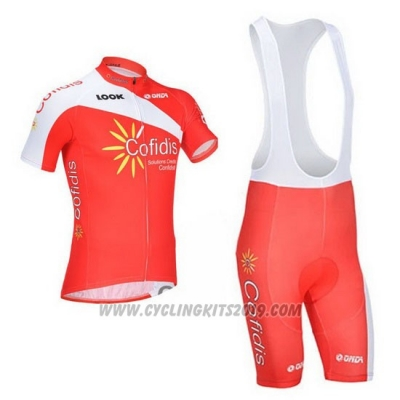 2013 Cycling Jersey Cofidis Red Short Sleeve and Bib Short
