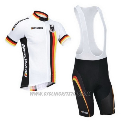 2013 Cycling Jersey Germany White and Black Short Sleeve and Bib Short