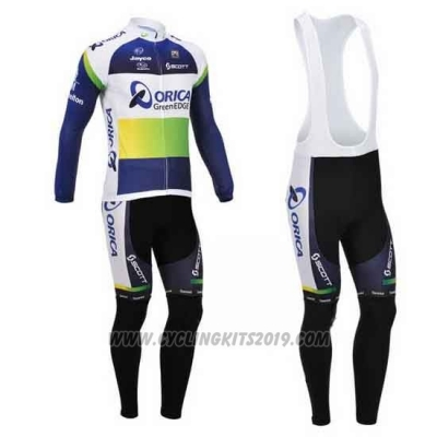 2013 Cycling Jersey Orica GreenEDGE Blue Long Sleeve and Bib Tight